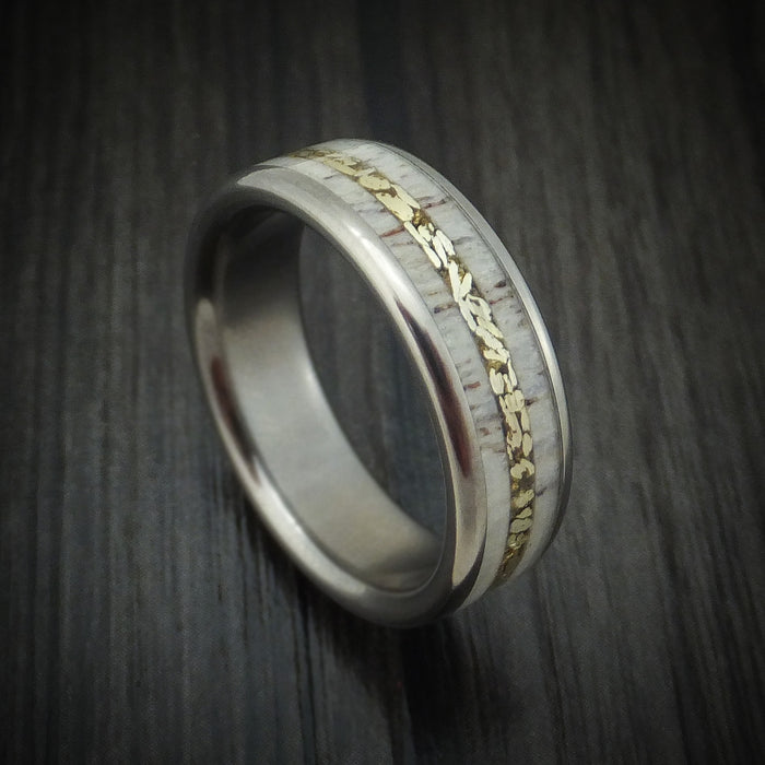 Titanium and Elk Antler Ring with Gold Nugget Inlay Custom Made