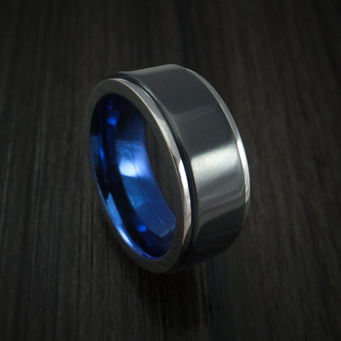 Titanium and Black Zirconium Spinner Anodized Ring Custom Made Band