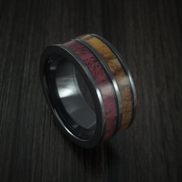 Wood Ring and BLACK ZIRCONIUM Ring inlaid with Purple Heart Wood and Zebra Wood Custom Made to Any Size