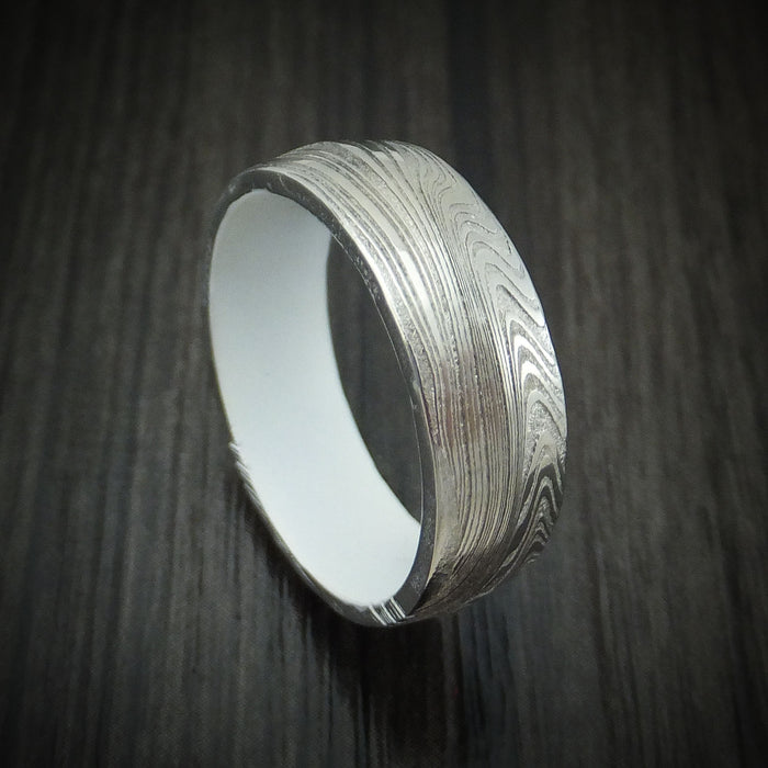 Marbled Kuro Damascus Steel Ring with Cerakote Sleeve Custom Made