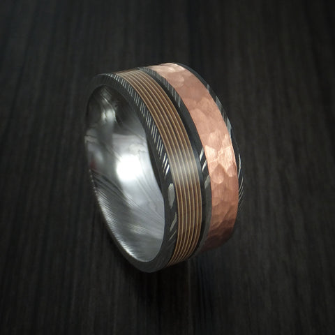 Damascus Steel Ring with Guitar String and Hammered Copper Inlays Custom Made Band