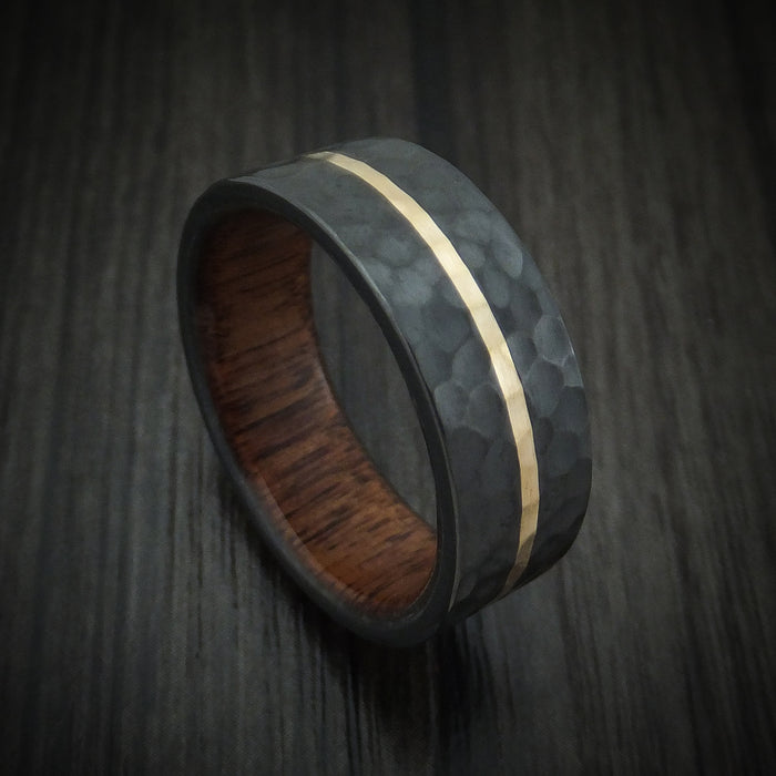 Black Zirconium Ring with 14K Gold and Wood Sleeve Custom Made Band