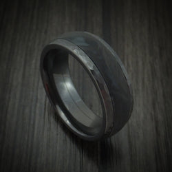 Black Zirconium Hammered Ring with Forged Carbon Fiber Inlay Band