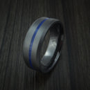 Black Zirconium Ring with Center Blue Inlay Thin Blue Line Wedding Band Genuine Craftsmanship