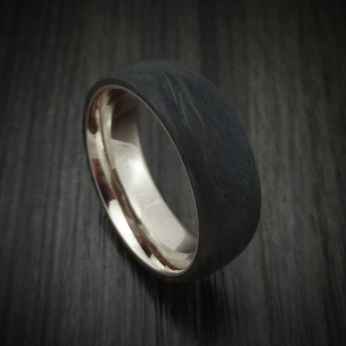 Solid Forged Carbon Fiber Ring with 14K White Gold Sleeve