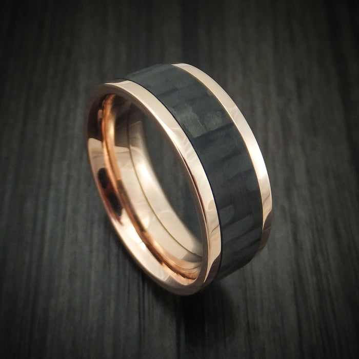 14K Gold and Carbon Fiber Ring Custom Made