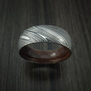 Kuro Damascus Steel Ring with Ancient Kauri Hardwood Sleeve Custom Made Wood Band