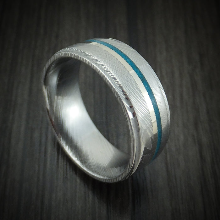 Damascus Steel Ring with 14K Gold and Turquoise
