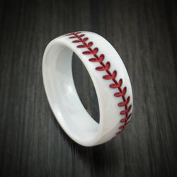 White Ceramic Ring with Baseball Stitching and Cerakote Inlay Custom Made Band