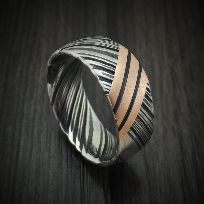 Kuro Damascus Steel Ring with Angled 14K Gold Custom Made Band