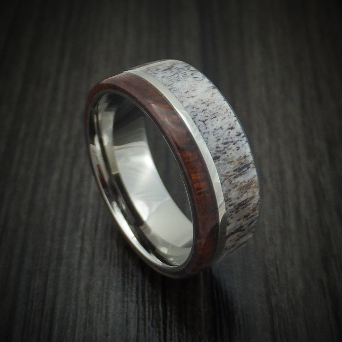 Titanium Ring with Ironwood and Antler Custom Made Band