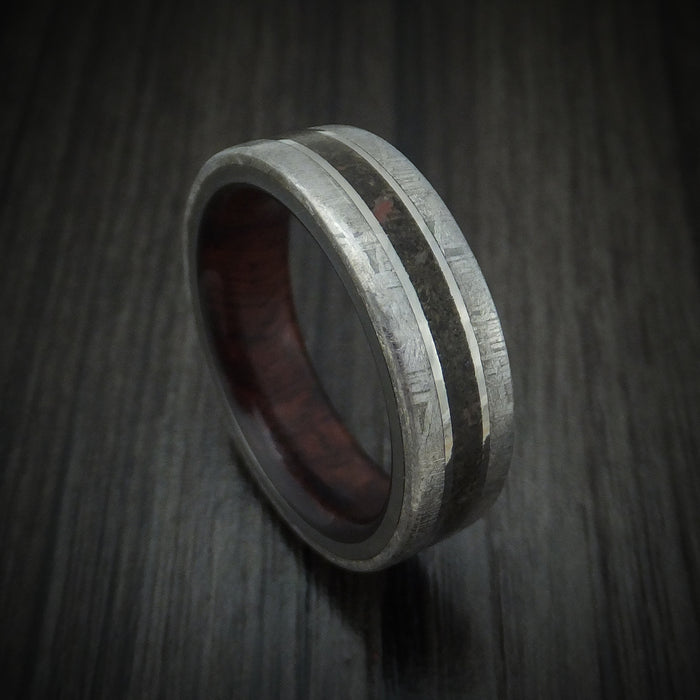 Titanium Ring with Dinosaur Bone and Gibeon Meteorite with Wood Sleeve Custom Made Band