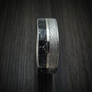Titanium Ring with Gibeon Meteorite and Black Stardust Custom Made Band