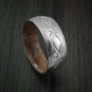 Damascus Steel Celtic Knot Ring Infinity Design with Maple Burl Sleeve