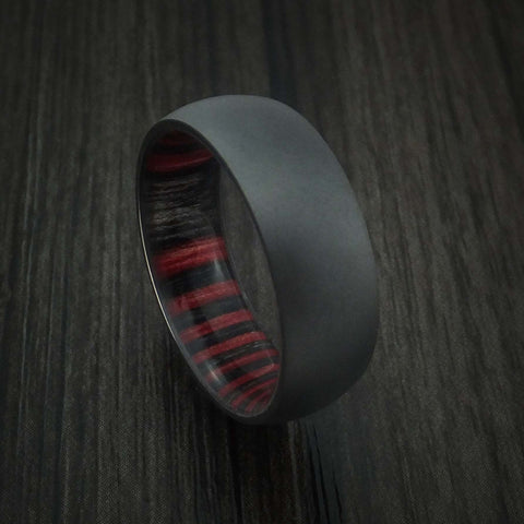 Black Zirconium Ring with Applejack Wood Sleeve Custom Made Band