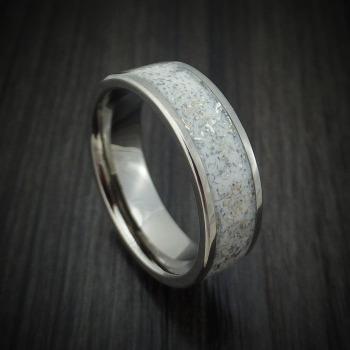 Titanium Ring with White Stardust Inlay Custom Made Band
