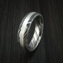 Kuro Damascus Steel and Silver Ring Custom Made Band