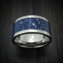 Titanium Ring with Blue Stardust Inlay Custom Made Band