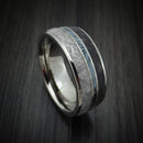 Titanium Ring with Dinosaur Bone and Gibeon Meteorite and M3 Mokume Inlay Custom Made Band