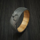 Damascus Steel Band with OLIVE WOOD Sleeve and Custom Buck Engraving Hunter's Band