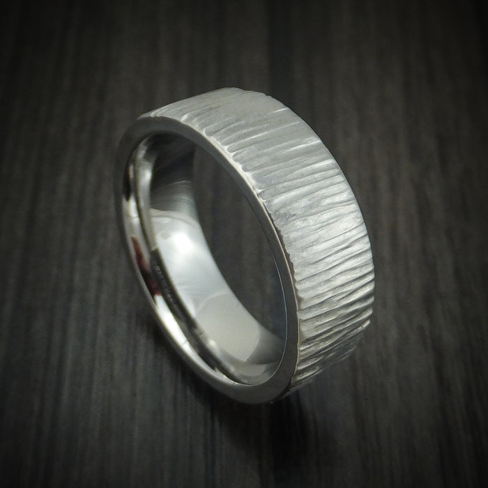 Titanium Tree Bark Finish Ring Custom Made