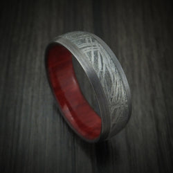 Tantalum and Meteorite Ring with Hardwood Sleeve Custom Made