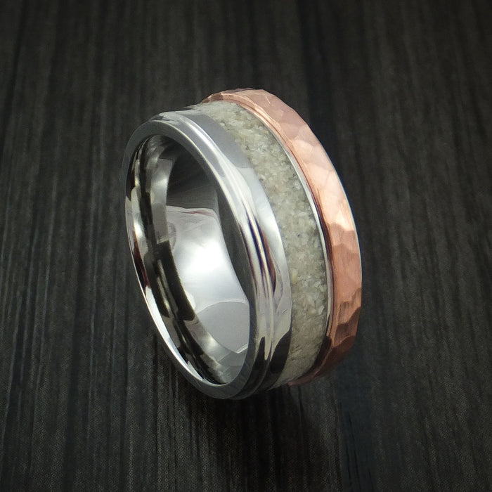 Titanium Ring with Raised Hammered Copper Inlay and Boar Tooth Inlay Custom Made Band