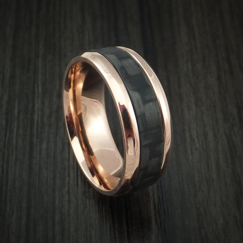 14k Rose Gold and Carbon Fiber Ring Custom Made Band