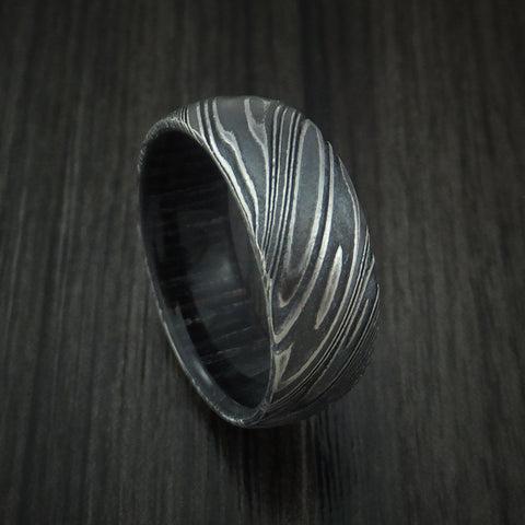 Kuro Damascus Steel Ring with Charcoal Wood Hardwood Sleeve Custom Made Wood Band
