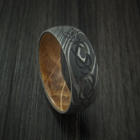 Damascus Steel Celtic Knot Ring Infinity Design with Jack Daniels Whiskey Barrel Wood Sleeve