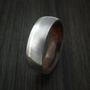 Damascus Steel Ring with 14k White Gold Inlay and Hardwood Interior Sleeve Custom Made Band