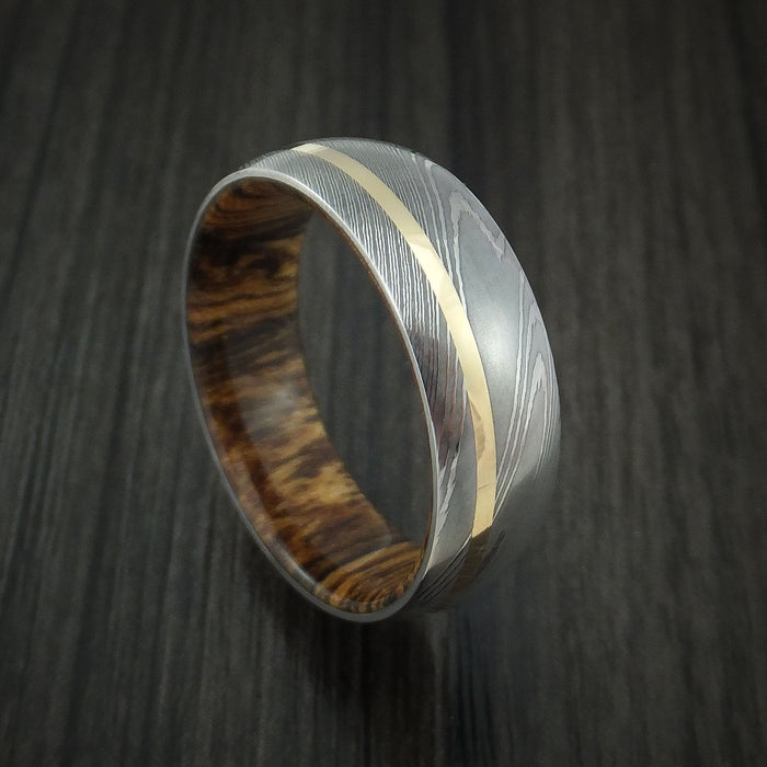 Damascus Steel Ring with 14k Yellow Gold Inlay and Bocote Hardwood Interior Sleeve Custom Made Band