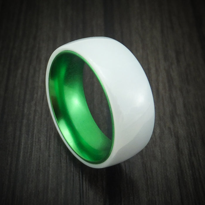 White Ceramic Ring with Anodized Sleeve Choose Your Color Band