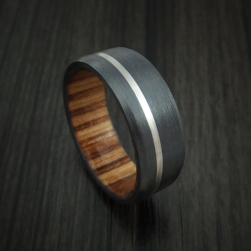 Black Zirconium Ring with Palladium Inlay and Apple Wood Sleeve Made to Any Sizing and Finish