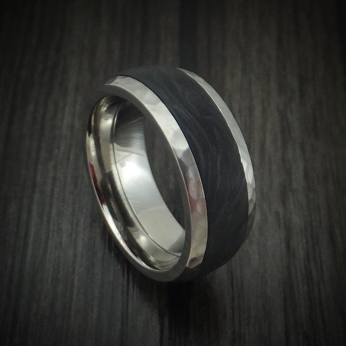 Titanium and Forged Carbon Fiber Hammered Band Custom Made