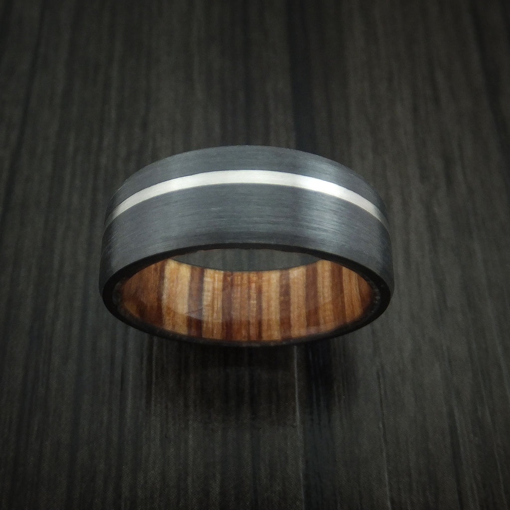 Black Zirconium Ring with Palladium Inlay and AMERICAN OAK Wood Sleeve Made to Any Sizing and Finish
