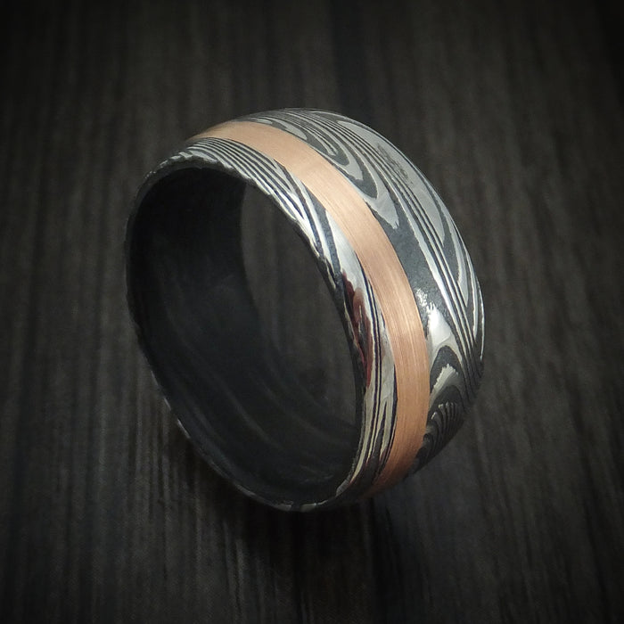 Sunset Kuro Damascus Steel Ring with Gold Inlay and Forged Carbon Fiber Sleeve