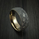 Damascus Steel Ring with Rock Hammer Finish and Anodized Titanium Sleeve Custom Made