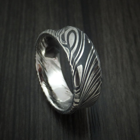 Kuro Damascus Steel Concave Ring Custom Made Wedding Band
