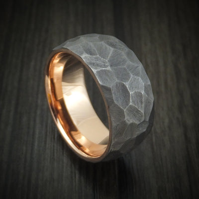 Tantalum ring with 14k rose gold sleeve