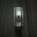 Damascus Steel Ring with Bezel Set Ruby Custom Made Band