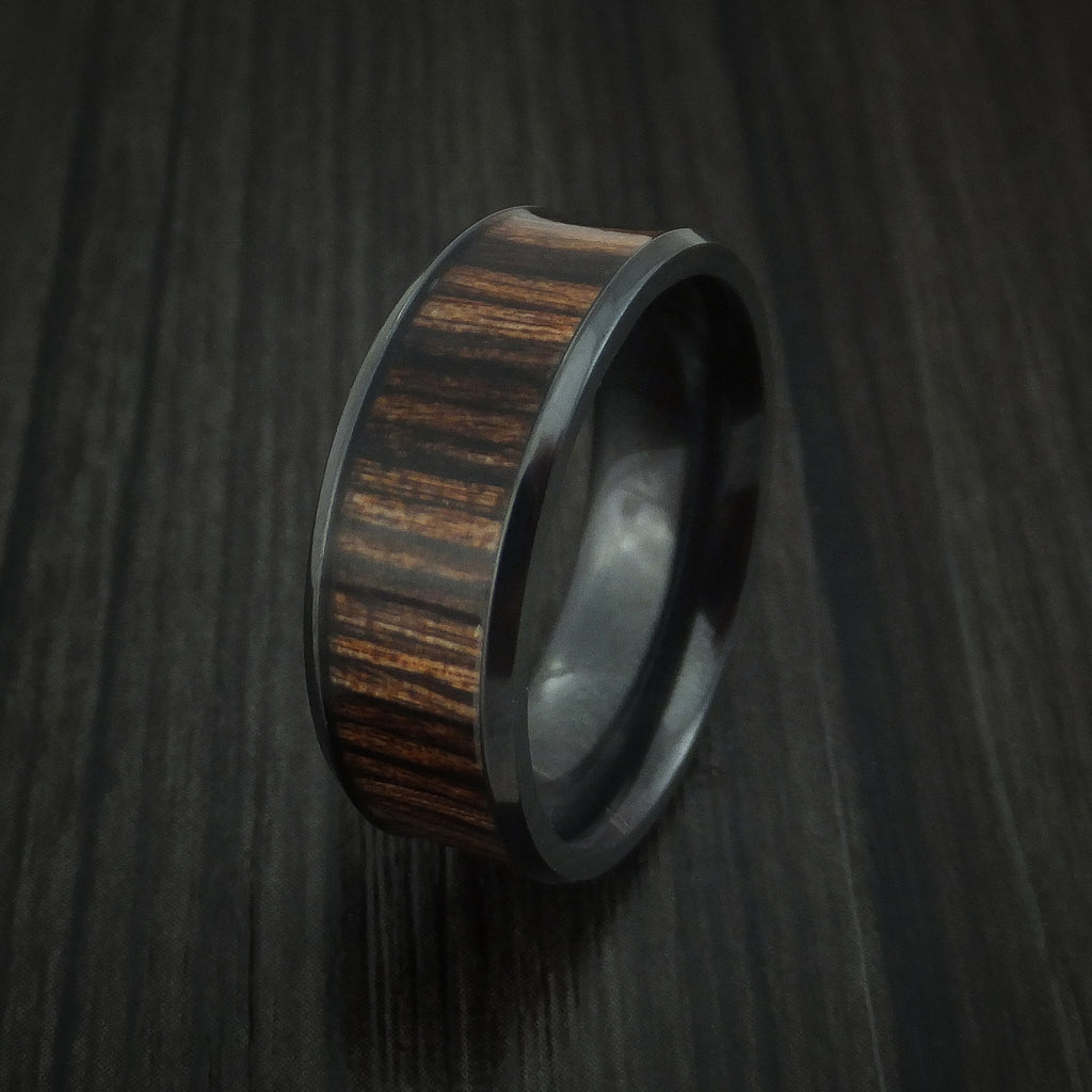 Black Zirconium and Wood Ring inlaid HERITAGE BROWN WOOD Custom Made to Any Size and Optional Wood Types