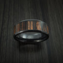 Black Zirconium and Wood Ring inlaid Ziriciote Hardwood Custom Made to Any Size and Optional Wood Types