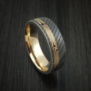 Damascus Steel Ring with 18K Yellow Gold Mokume Shakudo and 14K Yellow Gold Sleeve Custom Made Band