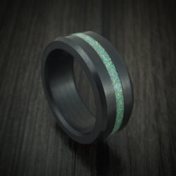 Elysium Black Diamond Wedding Band Beveled With Polish Finish And An Opal Inlay