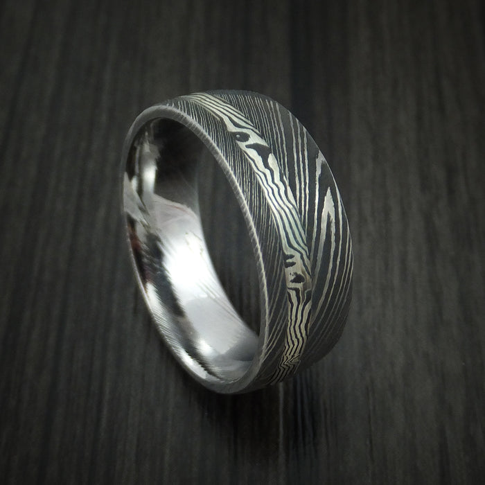 Damascus and Sterling Silver Mokume Gane Ring Custom Made