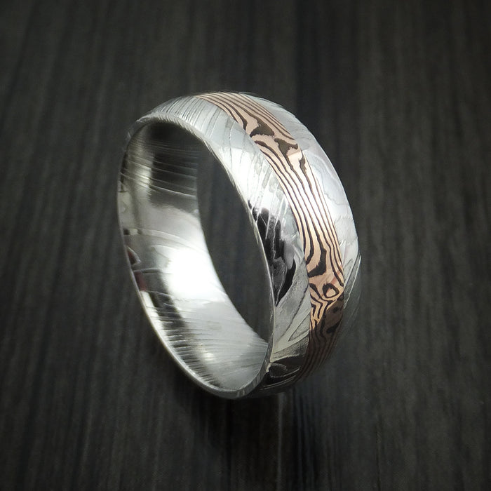 Kuro Damascus Steel and 14K Rose Gold Mokume Shakudo Gane Inlay Custom Made Band