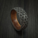 Damascus Steel Golf Ball Dimpled Ring with Kauri Wood Sleeve Custom Made
