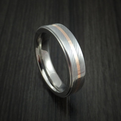 Titanium and Damascus Steel Spinner Ring with 14k Rose Gold Custom Made Band