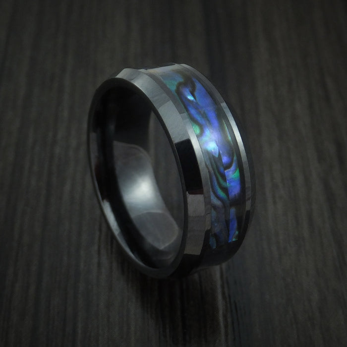 Black Ceramic and Abalone Ring Custom Made Band